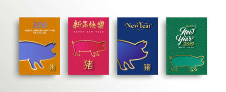 Chinese New Year 2019 greeting card with colorful illustration of hog on asian pattern background. Includes traditional calligraphy that means pig and seasons greetings.