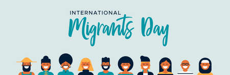 International Migrants Day global migration concept illustration with diverse friend group of different cultures together from all the world: asian, caucasian, african and middle east people.