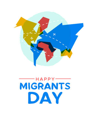 International Migrants Day greeting card illustration, colorful world map with travel marks and destinations for global migration or refugee movement concept.