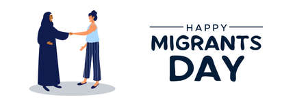 International Migrants Day web banner illustration, two women friends from different cultures greeting for welcome to a new country, global migration, immigration, or refugee help concept.