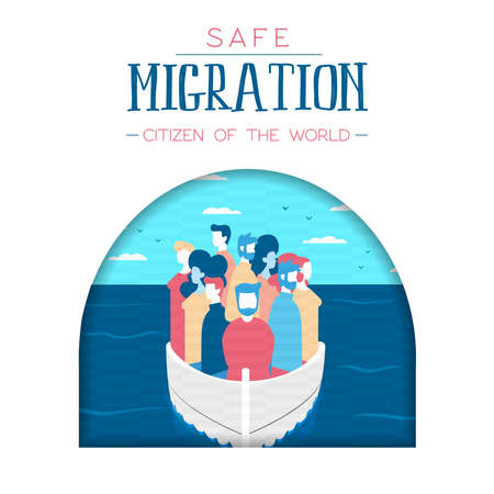 International Migrants Day illustration, diverse people group travelling boat by sea. Safe migration concept for refugees.