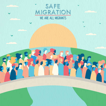 International Migrants Day illustration, diverse people group of different cultures crossing bridge for safe global migration or refugee help concept.