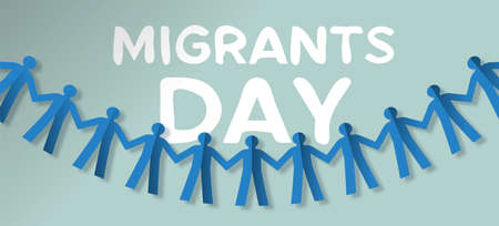 International Migrants Day illustration of paper cut people garland, group from different cultures concept for gobal migration or refugee help.
