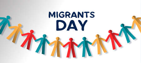 International Migrants Day illustration of paper cut people garland, diverse group from different cultures concept for gobal migration or refugee help. Illustration