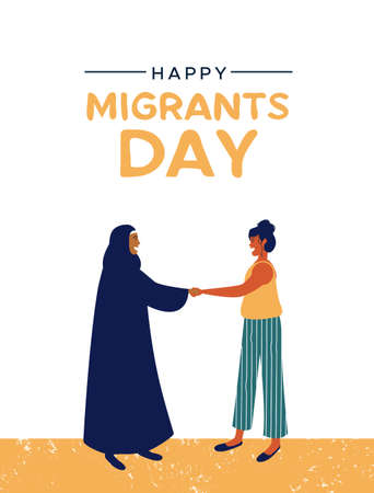 International Migrants Day greeting card illustration, women friends meeting of different cultures together for global migration or refugee help concept. Stock Illustratie