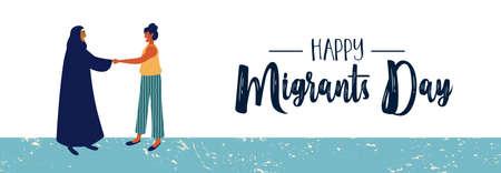International Migrants Day web banner illustration, women friends meeting of different cultures together for global migration or refugee help concept. Stock Illustratie