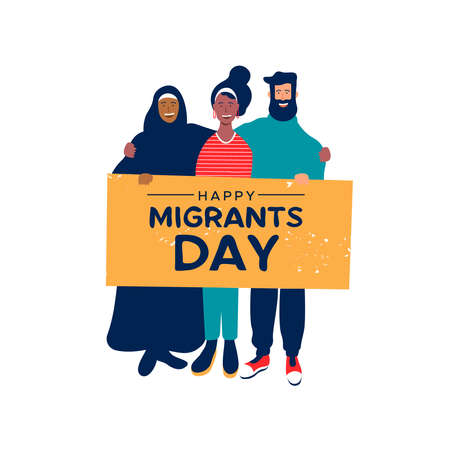 International Migrants Day background illustration, diverse people group from different cultures holding protest sign for gobal migration or refugee help concept. Ilustração