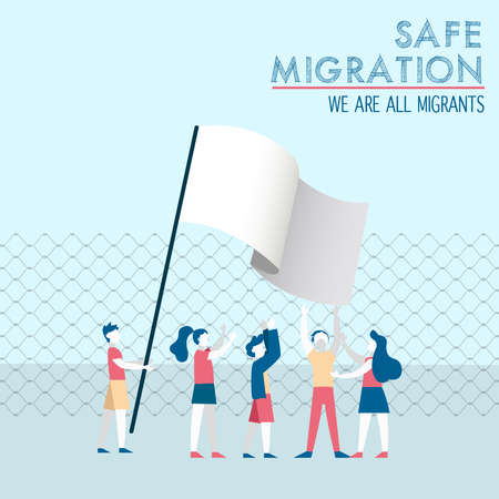 International Migrants Day illustration, diverse children group of different cultures together with white peace flag for safe global migration or refugee help concept.