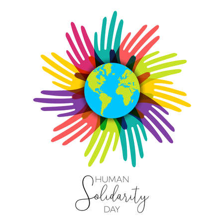 International Human Solidarity Day illustration with colorful hands around the world from different cultures helping each other for community help, social support concept.  Illustration