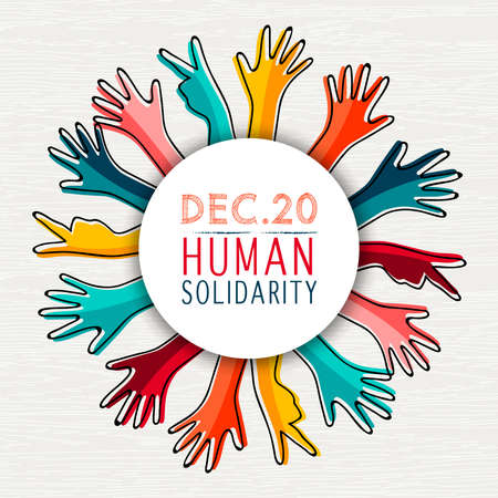 International Human Solidarity Day illustration with diversity colorful hands from different cultures helping each other for community help, social support concept. Stock Vector - 114114290