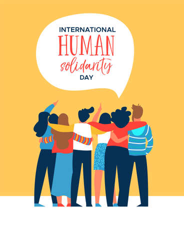 International Human Solidarity Day illustration of diverse friend group from different cultures hugging together for social help, global equality concept.  Vettoriali