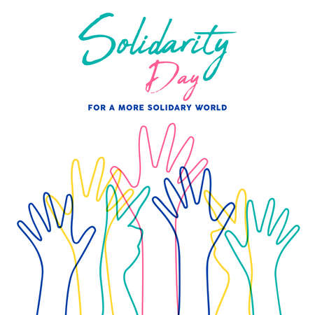 International Human Solidarity Day illustration with colorful line hands from different cultures helping each other for community help, social support concept. Stock Vector - 116796618