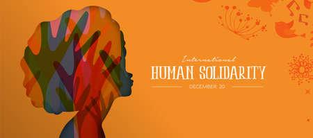 Ilustración del Día Internacional de la Solidaridad Humana con perfil de mujer afro y manos de diversidad de colores, concepto de apoyo social. Ilustración de vector