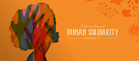 International Human Solidarity Day illustration with afro woman profile and colorful diversity hands, social support concept.