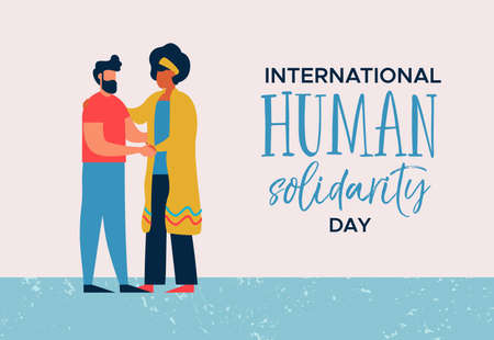 International Human Solidarity Day illustration of woman and man from different cultures helping each other for community help, social support concept. Stock Vector - 114114295