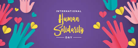 International Human Solidarity Day illustration web social banner with colorful hands and hearts for community help, support concept.  イラスト・ベクター素材