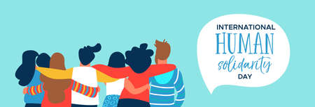 International Human Solidarity Day web banner of diverse friend group from different cultures hugging together for social help, global equality concept. Vektoros illusztráció