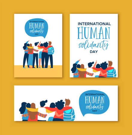 International Human Solidarity Day card set of diverse friend group from different cultures hugging together for community help, social equality concept. Illusztráció