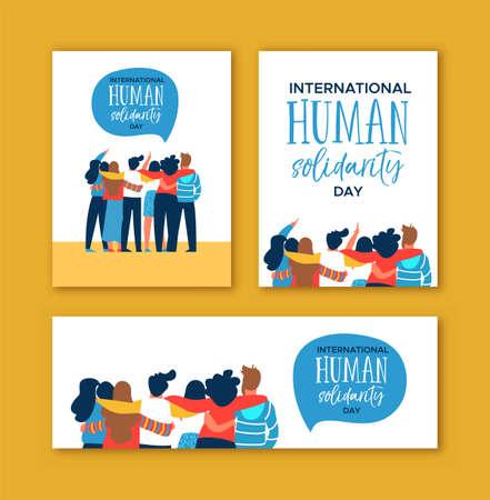 Zestaw kart Międzynarodowego Dnia Solidarności Człowieka z różnorodną grupą przyjaciół z różnych kultur przytulających się razem o pomoc społeczności, koncepcja równości społecznej.