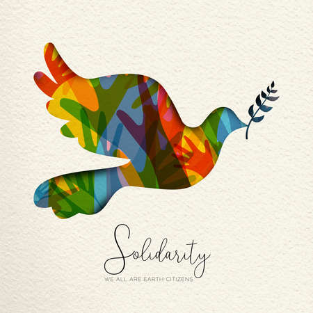 International Human Solidarity Day illustration. Paper cut dove bird shape and colorful hands from different cultures helping each other for community help, social peace concept. Stock Vector - 114114299
