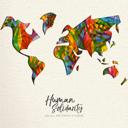 International Human Solidarity Day greeting card with world map and diverse hands from different cultures helping each other for community help, social support concept. Stock Vector - 114114302