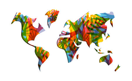 International Human Solidarity Day illustration with world map and colorful hands from different cultures helping each other for community help, social support concept.