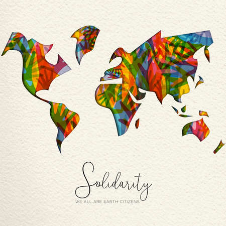 Tarjeta de felicitación del Día Internacional de la Solidaridad Humana con mapa del mundo y diversas manos de diferentes culturas ayudándose mutuamente para la ayuda comunitaria, concepto de apoyo social. Ilustración de vector