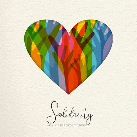 Ilustración del Día Internacional de la Solidaridad Humana. Papel cortado en forma de corazón y manos coloridas de diferentes culturas ayudándose mutuamente para obtener ayuda comunitaria, concepto de amor social.
