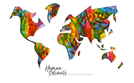 International Human Solidarity Day greeting card with world map and diverse hands from different cultures helping each other for community help, social support concept. 向量圖像