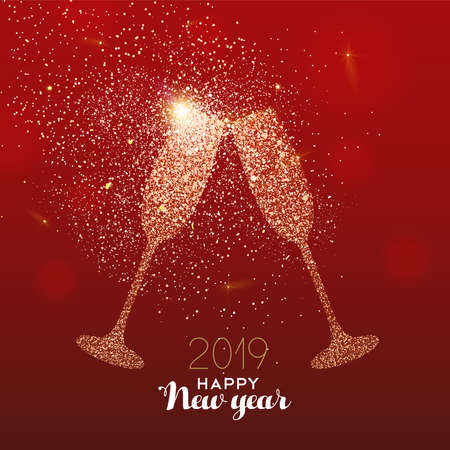 New Year luxury greeting card illustration, drink glass toast made of gold glitter texture on festive red background with holiday text quote. Ilustração