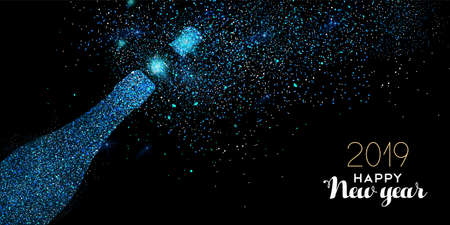 New Year luxury greeting card illustration, champagne bottle made of blue glitter texture on black midnight background with holiday text quote. 向量圖像