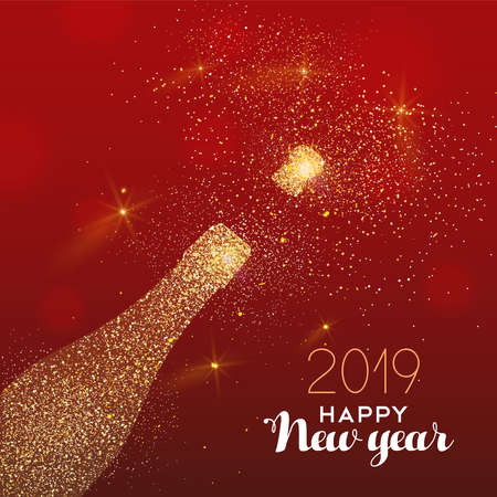 New Year luxury greeting card illustration, champagne bottle made of gold glitter texture on festive red background with holiday text quote. Zdjęcie Seryjne - 116796624