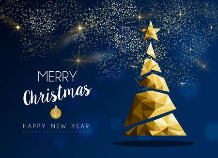 Prettige kerstdagen en gelukkig nieuwjaar gouden dennenboom in hipster driehoek laag poly stijl op blauwe achtergrond. Xmas wenskaart of elegante feestuitnodiging voor vakantie. Vector Illustratie
