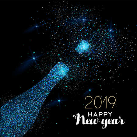 New Year luxury greeting card illustration, champagne bottle made of blue glitter texture on black midnight background with holiday text quote. Illustration