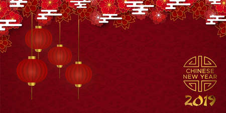 Chinese New Year of the pig 2019 illustration. Red background with traditional asian lanterns and plum blossom flowers in gold layered paper. Standard-Bild - 116058596