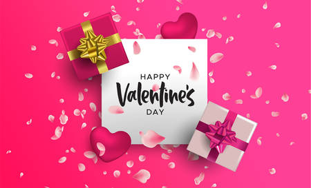 Happy Valentines Day illustration. Realistic 3d element layout in pink colors: gift box, heart shape and flower petal decoration from top view angle.