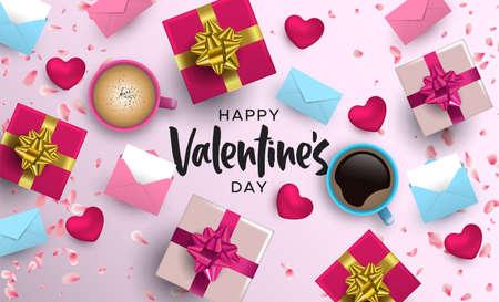 Ilustración de tarjeta de feliz día de San Valentín. Diseño realista de elementos 3D en colores rosados: caja de regalo, forma de corazón, taza de café, pétalo de flor y más desde el ángulo de visión superior.