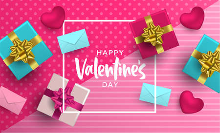 Happy Valentines Day illustration. Realistic 3d element layout in pink colors: gift box, heart shape and card envelope from top view angle. Illustration