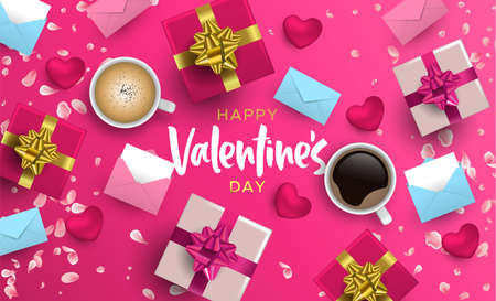 Happy Valentines Day card illustration. Realistic 3d element layout in pink colors: gift box, heart shape, coffee cup, flower petal and more from top view angle. Foto de archivo - 116796637