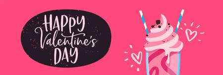 Valentines Day web banner illustration of pink strawberry ice cream milkshake with two straws for romantic date concept. Illustration