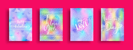 Valentines Day greeting card collection, holographic style love quotes and romantic doodle set for special holiday.