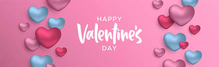 Happy Valentines Day love concept web banner. Realistic 3d heart shape decoration in pink and blue colors with holiday typography quote.