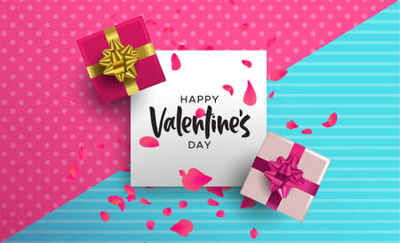 Happy Valentines Day illustration. Realistic 3d element layout in pink colors: gift box and flower petal decoration from top view angle. Illustration