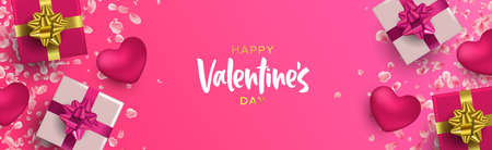 Happy Valentines Day web banner illustration. Realistic 3d element layout in pink colors: gift box, heart shape and flower petal decoration from top view angle.