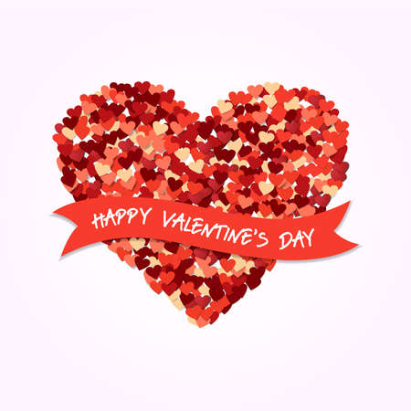 Happy Valentines Day love concept illustration. Red heart shape design composition with holiday typography quote.