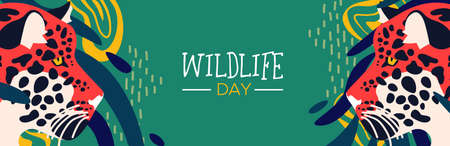 Happy wildlife day web banner illustration. Wild leopard with abstract african jungle decoration for animal care and conservation.