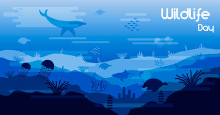 Wildlife Day illustration of ocean water animals and fish in coral reef for sea conservation awareness. Includes dolphin, shark, turtles and underwater life scene.