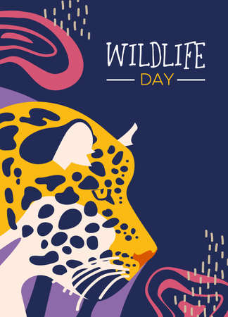 Happy wildlife day illustration. Wild leopard with abstract african jungle decoration for animal care and conservation.