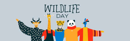 Happy wildlife day web banner illustration with exotic animal friend group as people hugging together. Help and wild life conservation awareness concept.