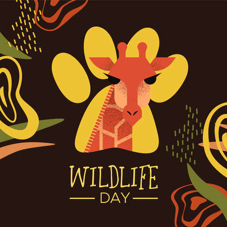 Happy wildlife day illustration. Wild giraffe with african safari decoration for animal care and conservation. Foto de archivo - 122042038
